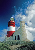 Cape Agulhas Lighthouse at southern most tip of African continent where Indian and Atlantic Oceans meet