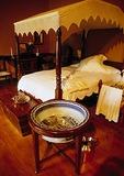 Boschendal Wine Estate manor house interior bedroom, Cape Dutch architectural style, in Cape Winelands
