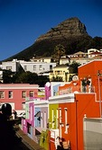 Cape Town's colorful  Bo-Kaap Malay Quarter muslim neighborhood with Lion Head above