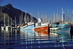 Hout Bay harbor fishing boats