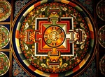 Mandala on ceiling of stupa near Potala Palace in Lhasa
