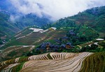 Jingkeng Terraced Fields during planting season in late spring at Longji