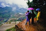 Tourists at Jingkeng Terraced Fields at Longji during late spring rain