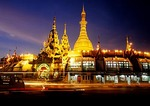 Sule Pagoda in downtown Yangon at night