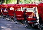 Beijing pedicabs waiting for customers along Qianhai Lake in Back Lakes hutong area