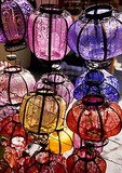 Colorful lanterns at Beijing shop next to the Silver Ingot Bridge in the Back Lakes area of hutongs