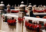 Beijing Temple of Confucius marble balustrades with tags bestowing good wishes or prayers for good luck purchased by temple visitors 