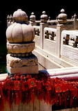 Beijing Temple of Confucius marble balustrade with charms purchased by temple visitors bestowing good wishes or wishing for good luck
