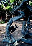 Beijing Ancient Observatory dragon design on leg of bronze astronomical armillary sphere instrument built in 1439 by the Jesuits