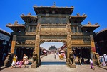 Xingcheng ancient seaside village in Liaoning province, main business street memorial archway (pailou or paifang)