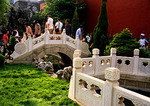 Shenyang Imperial Palace, courtyard with tourists on stone bridge