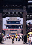 Xingcheng ancient seaside village in Liaoning province, memorial archway (pailou or paifang) on main business street