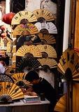 Hangzhou's He Fang Street, fan shop