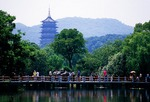 Hangzhou's West Lake, bridge over lotus pond on Island of Small Seas
