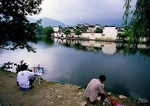 Hongcun Village in Yi County (Yixian) is a UNESCO World Heritage Site, appeared in film Crouching Tiger Hidden Dragon, and is favored subject for student painters
