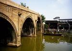 Zhujiajiao suburban Shanghai water town with Fang Sheng Bridge over the Cao Gang River