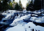 Bond Falls on Ontonagon River in winter in Upper Peninsula of Michigan