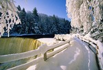 Upper Tahquamenon Falls in winter in eastern Upper Peninsula of Michigan