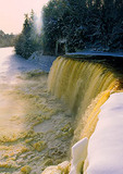 Upper Tahquamenon Falls in winter in the Upper Peninsula of Michigan