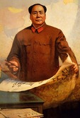 Mao holding brush and da zi bao, a propaganda poster of Mao starting Cultural Revolution
