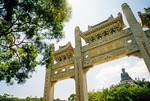 Archway at Po Lin Monastery on Lantau island with Big Buddha