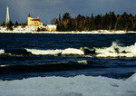 Copper Harbor Light in winter in Upper Peninsula of Michigan