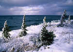 Lake Superior in winter along north shore of Keweenaw Peninsula