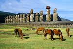 Ahu Tongariki moai with horses on Rapa Nui (Easter Island)