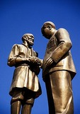Statue of local Uighur meeting with Mao Zedong in Khotan city center