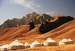 Kazakh yurts at White Poplar Valley in the Tian Shan mountains north of Urumqi