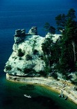 Pictured Rocks National Lakeshore with canoes on Lake Superior at Miner's Castle