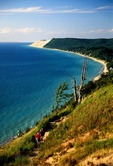 Sleeping Bear Dunes National Lakeshore with hikers on Empire Bluff