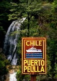 Sign at boat dock near waterfall in Puerto Peulla in Lake District of Chile