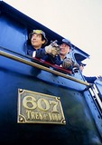 Engineers of Colchagua Wine Route Train (Tren del Vino) steam locomotive from San Francisco to Santa Cruz, Chile