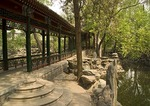 Winding corridor and rockery at former residence of Soong Ching Ling, Madame Sun Yatsen, in the Hou Hai, back lake, neighborhood of hutongs, was once a garden of a Qing dynasty prince
