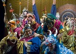 Colorful characters from the Beijing Opera Journey to the West on stage at the Liyuan Theater