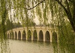 Summer Palace willows framing Seventeen Arch Bridge on Kunming Lake