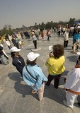 Center of the Round Altar (Huanqiutan) in Temple of Heaven (Tiantan) complex is favorite spot to be photographed