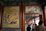 Covered corridor in Bei Hai Park outside Fangshan Restaurant showing mural of Qing imperial hunting party