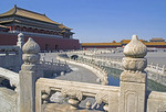 Imperial Palace Museum (Forbidden City) Golden River with marble balustrades and Meridian Gate