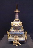 Imperial Palace Museum (Forbidden City) cloissone Lamaist pagoda with rosette design from Qing dynasty on display in Tower of Enhanced Righteousness (Hong Yi Ge)