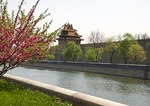 Imperial Palace Museum (Forbidden City) outer moat and tower in spring