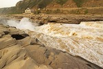 Yellow River (Huang He) at Hukou waterfalls, Shanxi province, with Shaanxi on opposite bank