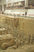 Xian's terra cotta army in Qin Shihuangdi Museum pit number 1 being viewd by tourists