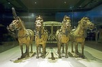 Xian's Qin Shihuangdi Museum number 2 bronze chariot in one-half scale pulled by four-horse team