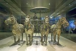 Xian's Qin Shihuangdi Museum number 1 bronze chariot in one-half scale pulled by four-horse team