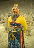 Colorfully painted replica of a terra cotta warrior from the army of Emperor Qin in workshop