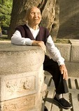 Elderly man in park at Xian's Small Wild Goose Pagoda (Xiaoyan Ta)