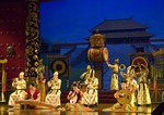 Musicians on stage at Tang dynasty performance of The Silk Road in Xi'an