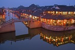 Xitang ancient water town restaurant at dusk, location for film Mission Impossible III
